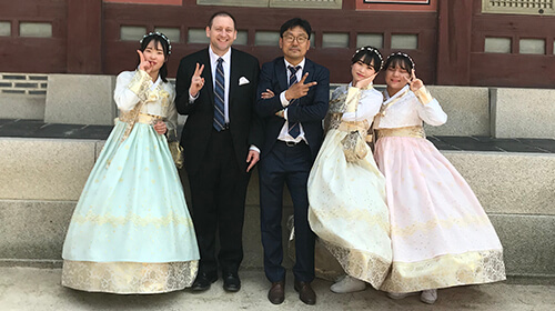 Thad Wadas (from second left with Dr. Jeong Hoon Park) meet with students during a scientific and cultural exchange in Seoul, South Korea.