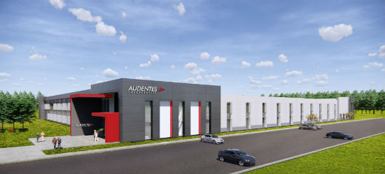 Rendering of new Audentes factory in Sanford