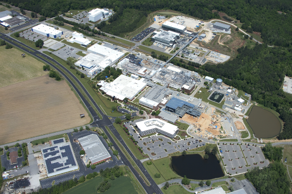 Aerial view of Grifols Clayton campus