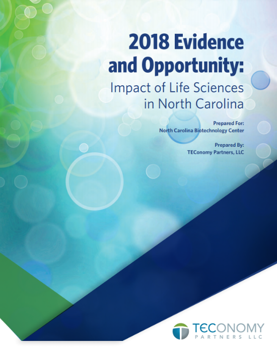 Cover of the 2018 TEConomy report for NCBiotech