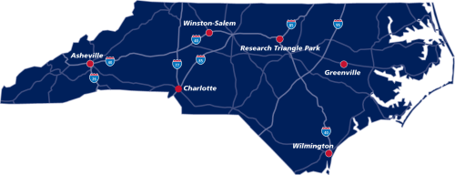 five regional offices in North Carolina map